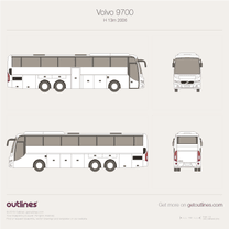 2006 Volvo 9700 H 13m Coach Bus blueprint