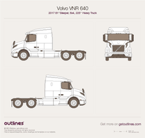 2017 Volvo VNR 640 61'' Sleeper, 6x4, 225'' Heavy Truck blueprint