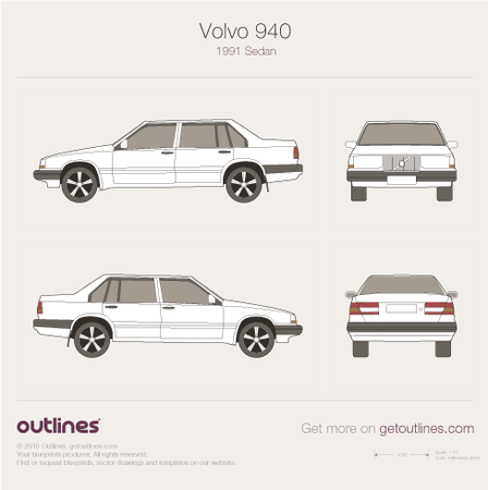 1991 Volvo 940 Sedan blueprints and drawings