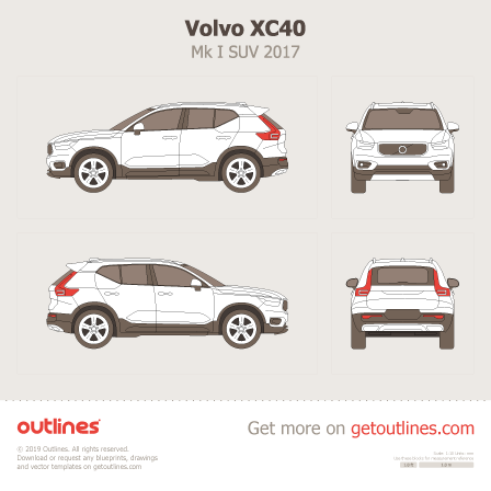 2017 Volvo XC40 SUV blueprints and drawings