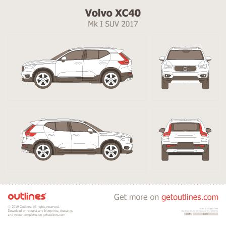 2017 Volvo XC40 SUV blueprint