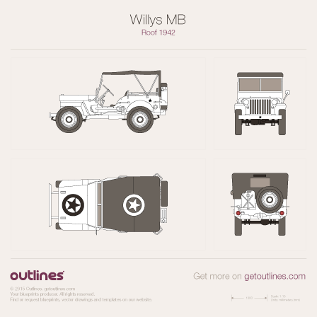 1942 Willys 4x4 Roof SUV blueprints and drawings